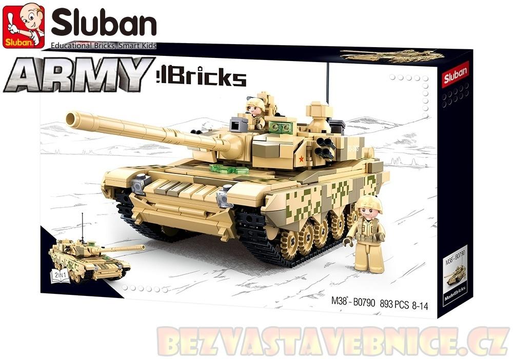 SLUBAN Army Model Bricks - Hlavní Bitevní tank 2v1